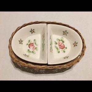 Japanese porcelain divider dishes with basket